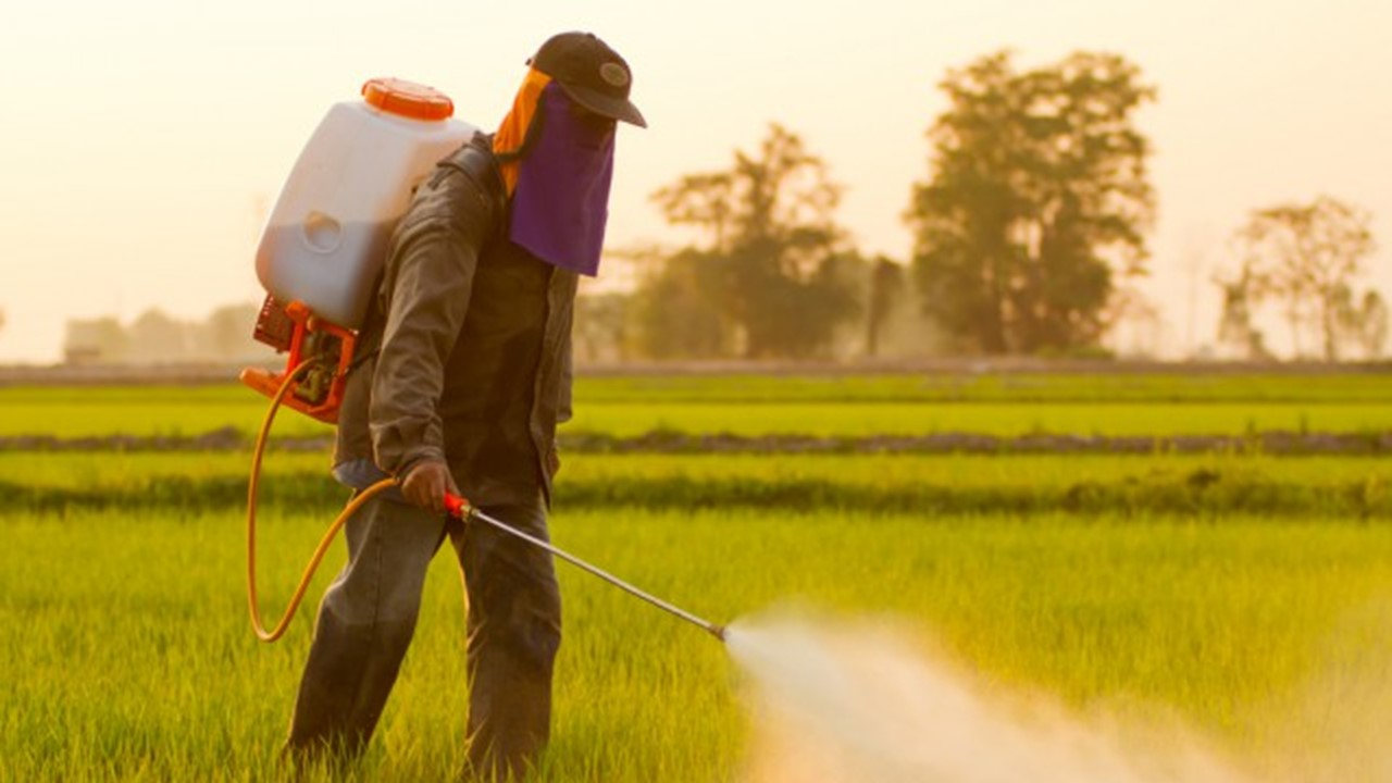 Man spraying weed killer in a large field - Monsanto Law Suit Attorneys - Lundy Lundy Soileau & South
