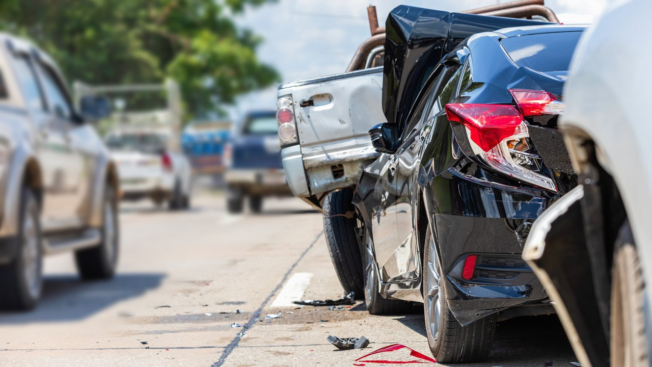 image of 3 car rear end collision - personal injury lawyers - Lake Charles La